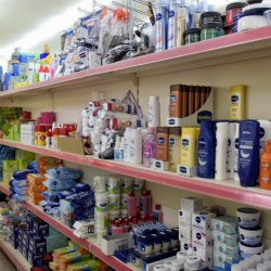 Cosmetics, shampoos, shower gels, shaving and sanitary paper products, Marina Gouvia Market